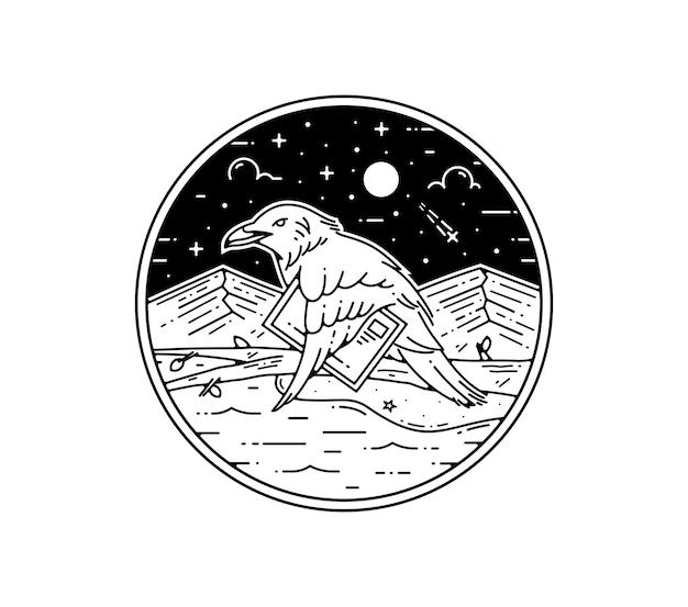 Uccello del postino che porta la carta via terra e disegno del mare bade