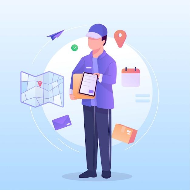 Il postino porta il pacchetto intorno all'illustrazione del mondo