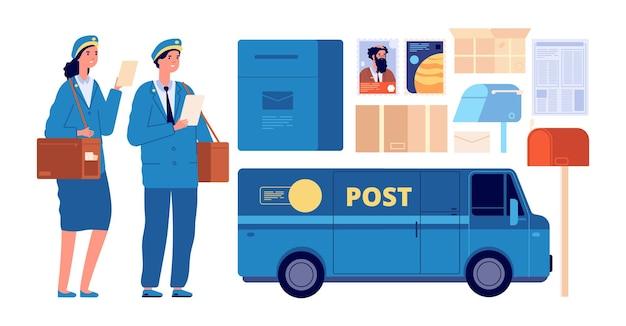 Personaggi postino. postino postale, uomo donna in uniforme invia buste. lettera di pacchi per apparecchiature per ufficio postale, set di vettori per il servizio di consegna. illustrazione del postino e della casella postale