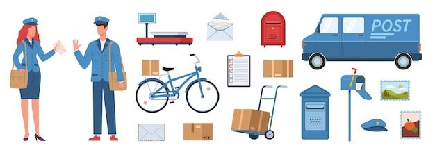 Personaggi postino. donna e uomo in uniforme da postino, attrezzatura postale. furgone e bici, pacchi e cassette postali, buste di francobolli consegna vettore piatto vettore isolato set