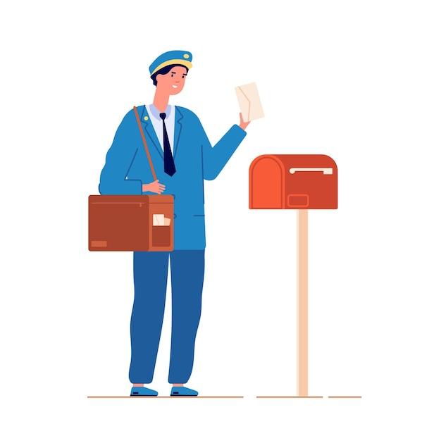Il postino consegna la posta. servizio postale, postino con borsa che consegna lettera nella cassetta delle lettere. uomo in uniforme blu con illustrazione vettoriale di busta. postino di posta, corriere del servizio di consegna