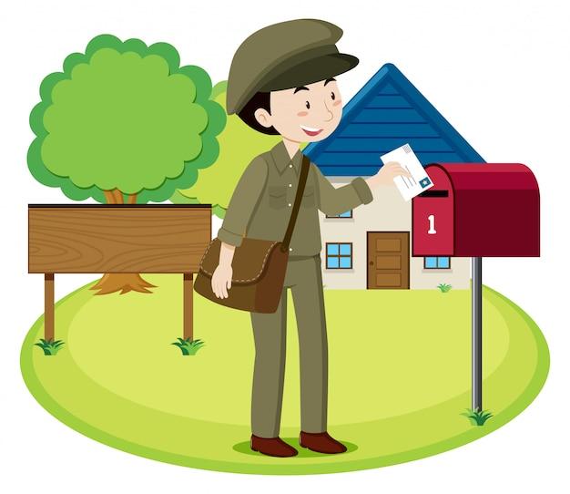 Una lettera di consegna postino