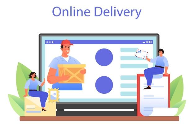 Servizio o piattaforma online di professione di postino. personale dell'ufficio postale