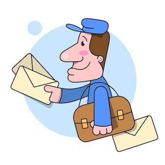 Il postino corre consegnando l'illustrazione di vettore della lettera su fondo bianco