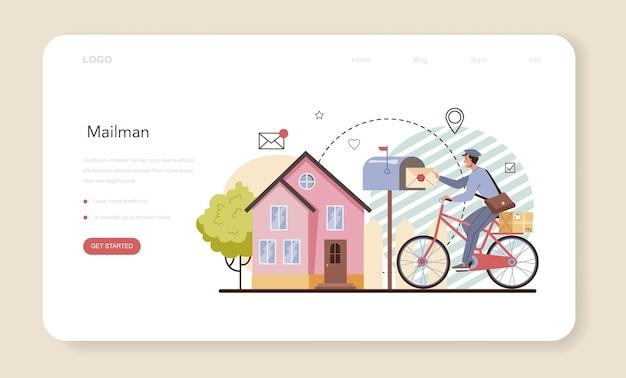 Banner web postino o pagina di destinazione. personale dell'ufficio postale che fornisce servizio di posta, accettazione di lettere e pacchi. consegna e comunicazione internazionale. illustrazione vettoriale piatto isolato