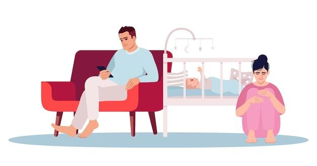 Illustrazione di vettore di colore rgb semi piatto depressione post-partum. i giovani genitori stressati hanno isolato il personaggio dei cartoni animati su priorità bassa bianca. coppia irritata con neonato. disturbo postnatale