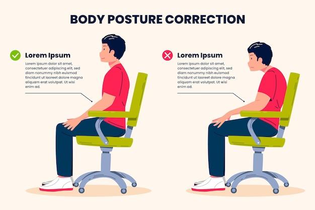 Modello di infografica per la correzione della postura
