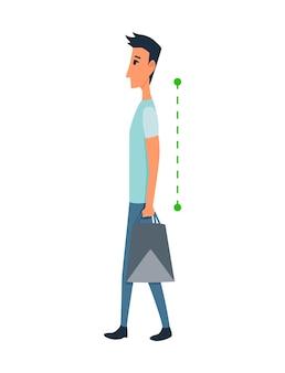 Postura ed ergonomia. allineamento corretto del corpo umano in posizione eretta