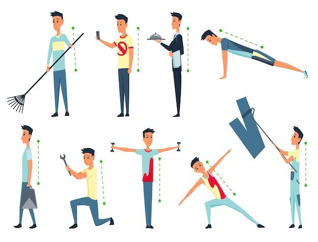 Postura ed ergonomia. allineamento corretto della postura del corpo umano per una buona personalità e la salute della colonna vertebrale e delle ossa. illustrazione di assistenza sanitaria.