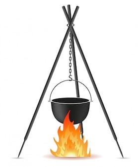 Pentola per la cottura su un'illustrazione vettoriale di fuoco