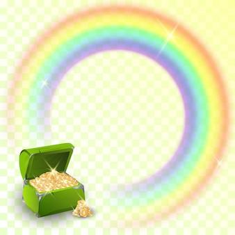 Pentola d'oro con arcobaleno irlandese