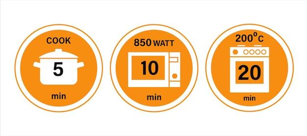 Simboli di istruzioni per la cottura in pentola a microonde e forno 51020 minuti illustrazione vettoriale