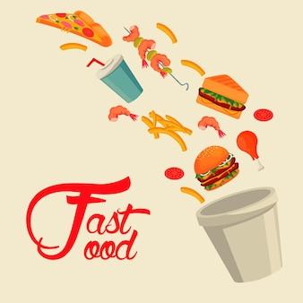 Pentola con deliziosi fast food e scritte