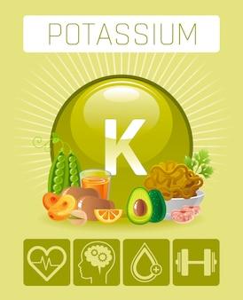 Icone di integratore di vitamina minerale di potassio k. modello medico del manifesto di infographics di simbolo 3d di dieta sana dell'alimento e delle bevande. design a beneficio piatto