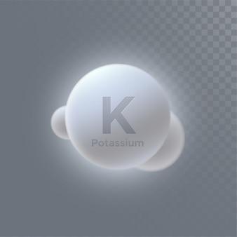 Icona di minerale di potassio isolato su sfondo trasparente.