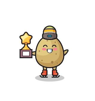 Il fumetto di patate come un giocatore di pattinaggio sul ghiaccio tiene il trofeo del vincitore, un design in stile carino per t-shirt, adesivo, elemento logo
