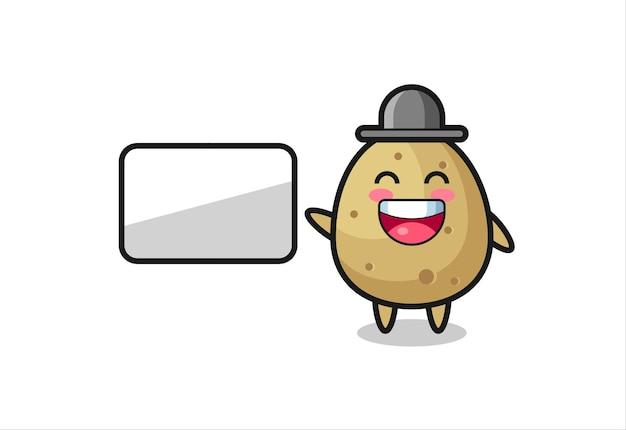 Illustrazione del fumetto di patate che fa una presentazione, design in stile carino per maglietta, adesivo, elemento logo
