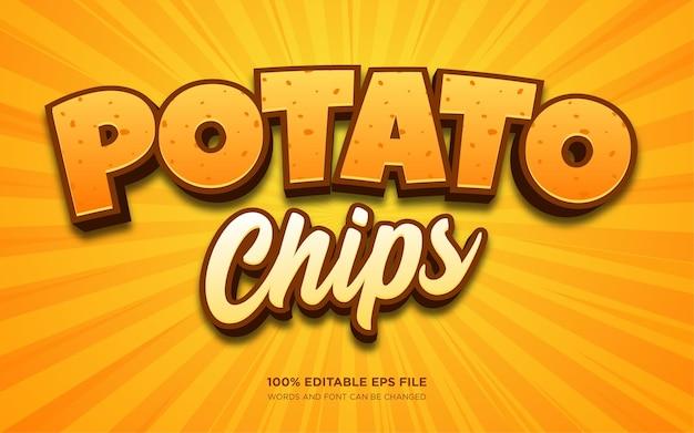 Modello di effetto di stile di testo 3d di patatine fritte
