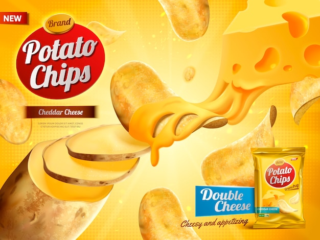 Pubblicità di patatine fritte, doppio sapore di formaggio