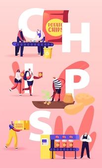Illustrazione di fabbricazione di patatine fritte. le persone producono snack.