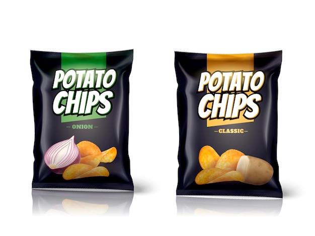Design del pacchetto di patatine fritte, sacchetti di alluminio isolati su superficie bianca in illustrazione 3d