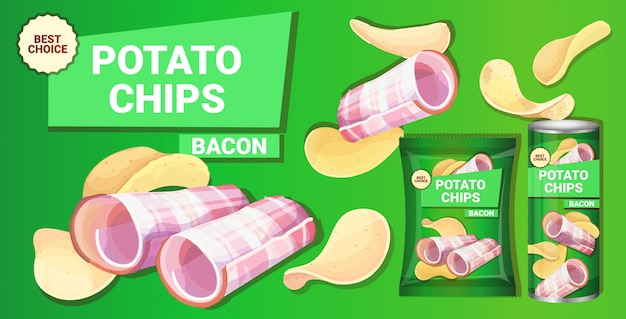 Patatine fritte con aroma di pancetta composizione pubblicitaria di patatine fritte naturali e imballaggi