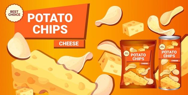 Patatine fritte con aroma di formaggio composizione pubblicitaria di patatine fritte naturali e imballaggi