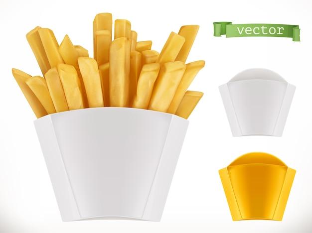 Patata. patatine fritte e set di imballaggio