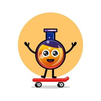 Pozione bottiglia skateboard simpatico personaggio mascotte
