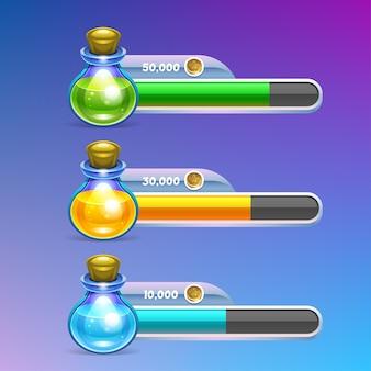 Icona di pozione con barra di avanzamento.