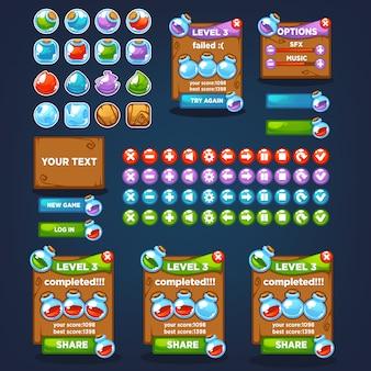 Creatore di pozioni, sparatutto in bolla, match 3, grande raccolta di cartoni animati di vettore, personaggi, elementi