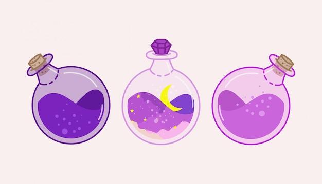 Pozione in una bottiglia rotonda. illustrazione di pozione viola.
