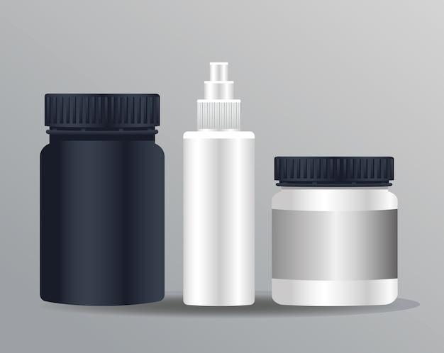 Prodotti di pentole e icone isolate di branding bottiglia splash