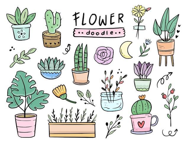 Raccolta dell'insieme del disegno del fumetto di scarabocchio della pianta in vaso