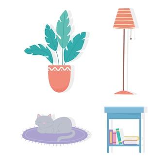 Libri da tavolo lampada pianta in vaso e gatto nel set di icone tappeto