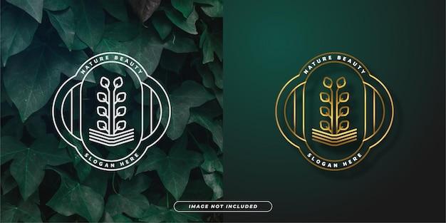 Logo della pianta in vaso con un concetto minimalista in stile linea