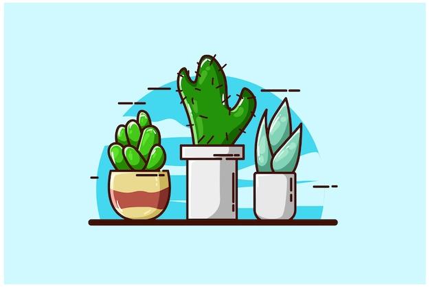 Illustrazione di piante in vaso