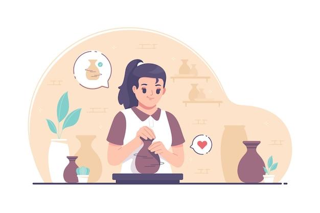 Potter girl making clay pots on pottery wheel illustrazione Vettore Premium
