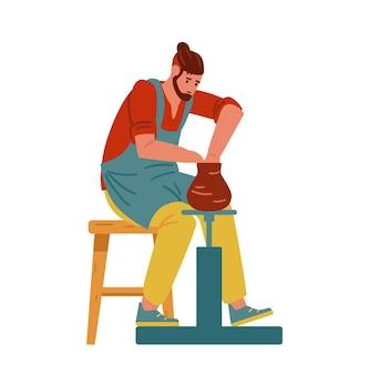 Vasaio che fa vaso di argilla sul tornio da vasaio uomo personaggio artigianale