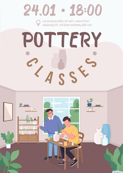 Modello piatto poster di classi di ceramica creazione di cose diverse dall'argilla