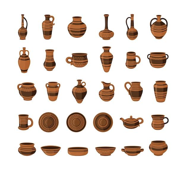 Collezione di ceramiche. vasi e vasi di argilla realistici.