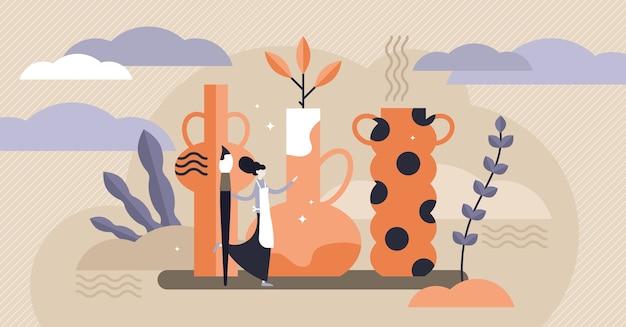 Illustrazione di ceramica. concetto di persona minuscola argilla che forma vasi