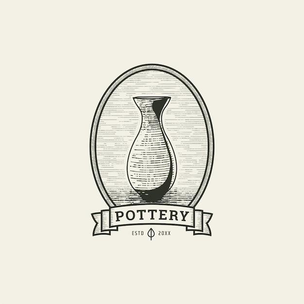 Ceramica con illustrazione di vettore del modello di progettazione dell'icona di logo di stile dell'incisione