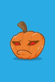 Illustrazione del fumetto della zucca di halloween imbronciata
