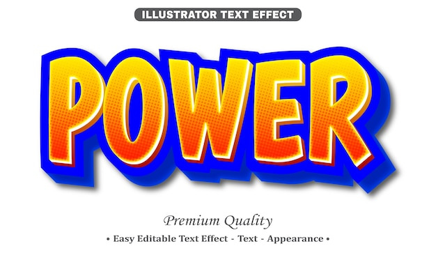 Potere effetto di stile di testo modificabile 3d