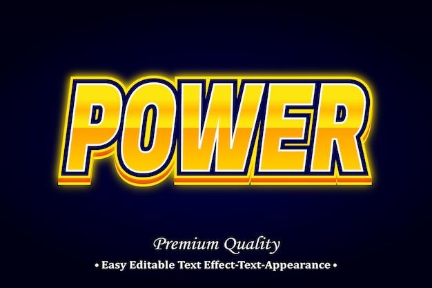 Potere effetto stile di carattere 3d Vettore Premium