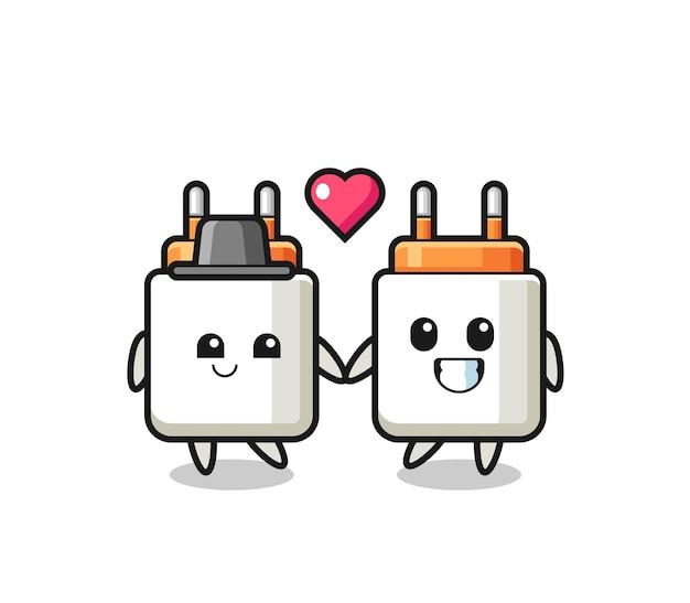 Coppia di personaggi dei cartoni animati con adattatore di alimentazione con gesto di innamoramento, design carino