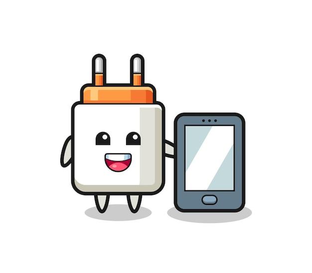 Fumetto dell'illustrazione dell'adattatore di alimentazione che tiene uno smartphone, design carino