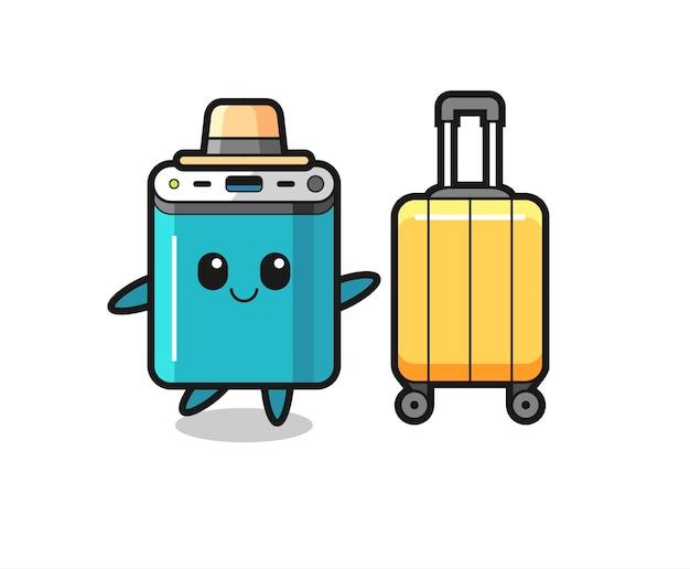 Illustrazione del fumetto della banca di potere con i bagagli in vacanza, design in stile carino per t-shirt, adesivo, elemento logo