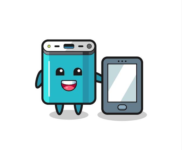 Fumetto dell'illustrazione della banca di potere che tiene uno smartphone, design in stile carino per maglietta, adesivo, elemento logo